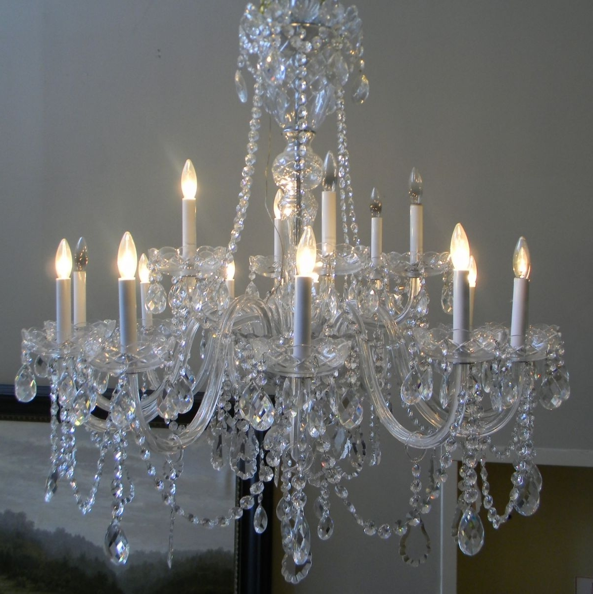 Fashionable Lead Crystal Chandelier pertaining to Lamp Antiques
