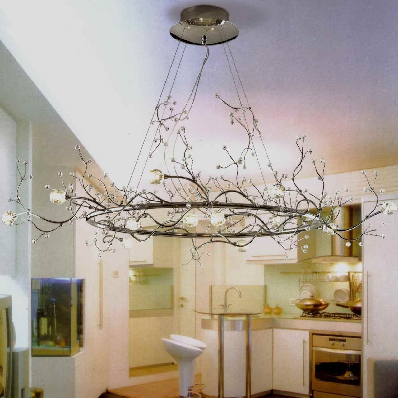 """Fashionable Lucinda Branch Chandelier Throughout 40"""" Albero Modern Crystal Branch Oval Chandelier Polished Chrome  (View 4 of 15)"""