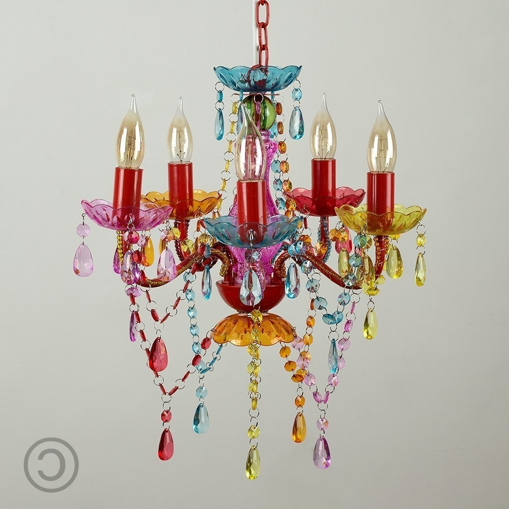 Fashionable Modern Gypsy Multi Coloured 5 Way Mini Marie Therese Ceiling Light Inside Small Gypsy Chandeliers (View 5 of 15)