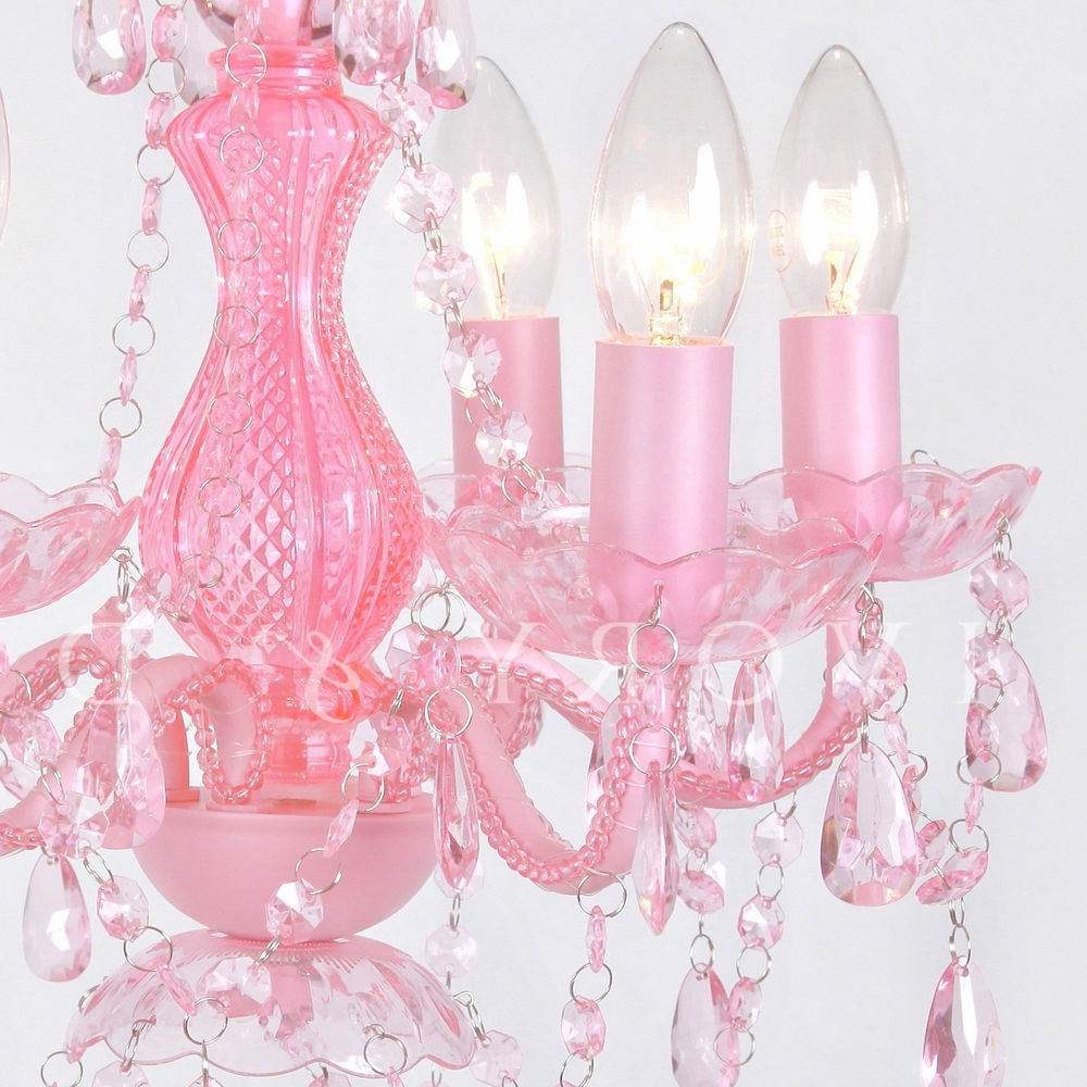 Fashionable Pink Gypsy Chandeliers Within Love Pink Chandelier 5 Light Gorgeous Soft Gypsy Boho Crystals (View 4 of 15)