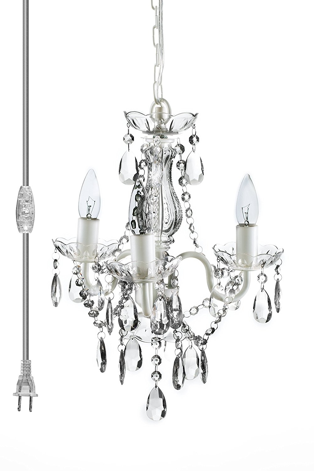 Fashionable Small White Chandeliers Within The Original Gypsy Color 3 Light Mini Plug In Crystal Chandelier For (View 7 of 15)