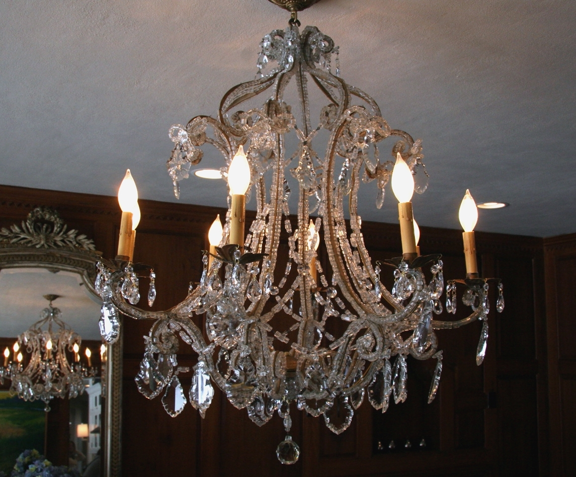 Favorite French Crystal Chandeliers Regarding Antique French Macaroni Bead Crystal Chandelier – Sold – (View 5 of 15)