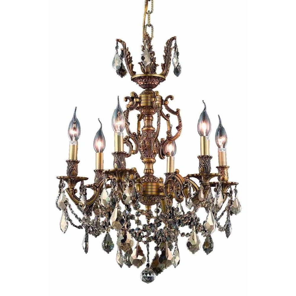 Favorite French Gold Chandelier With Elegant Lighting 6 Light French Gold Chandelier With Golden Teak (View 13 of 15)