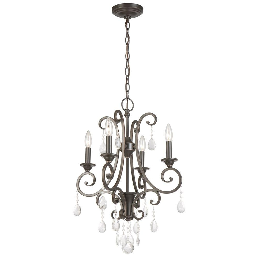 Favorite Hampton Bay 4 Light Oil Rubbed Bronze Crystal Small Chandelier Within Small Chandeliers (View 6 of 15)
