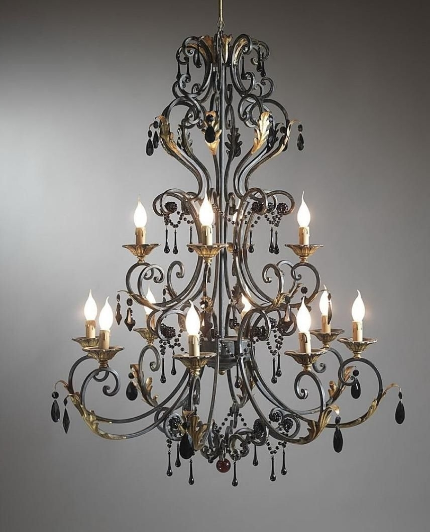 Favorite Large Iron Chandeliers In Chandeliers : B91Whiteshades303484Dc Gallery Wrought Iron And (View 6 of 15)