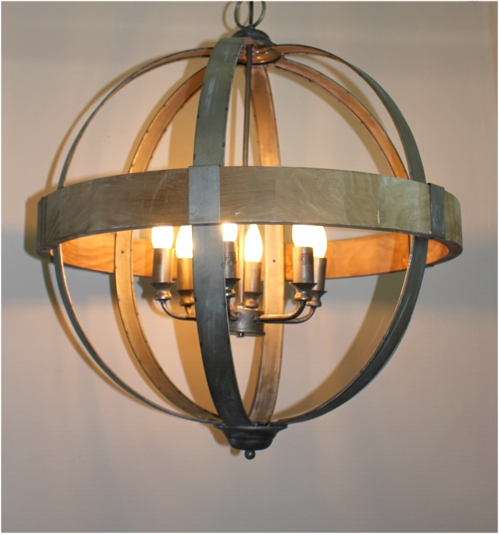 Favorite Metal Ball Chandeliers Intended For Round Ball Shaped Metal And Wood Chandelier W Pendant Light In (View 5 of 15)