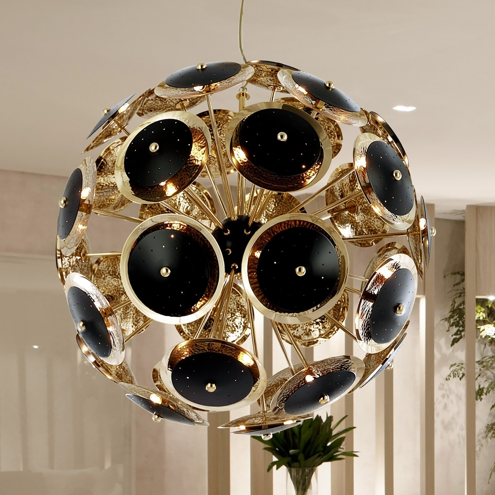 Favorite Modern Black And Gold Plated Italian Sphere Chandelier (View 6 of 15)