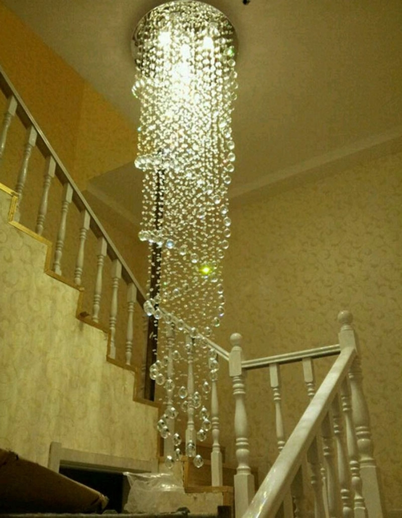 Favorite Modern Simple Led Chandelier Rotating Staircase Chandelier Crystal With Regard To Staircase Chandeliers (View 6 of 15)