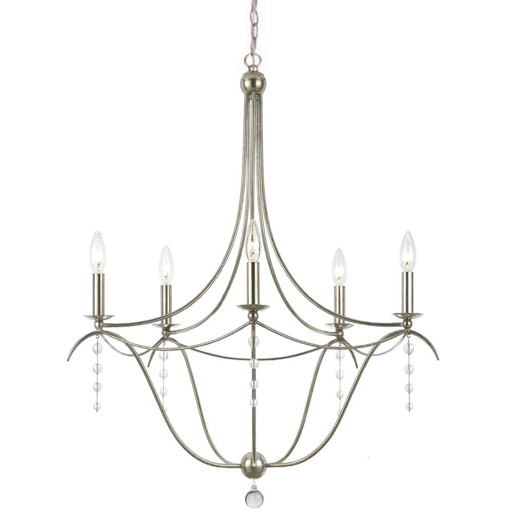 Favorite Silver Chandeliers Pertaining To 5 Light Antique Silver Chandelier 435 Sa – The Home Depot (View 13 of 15)