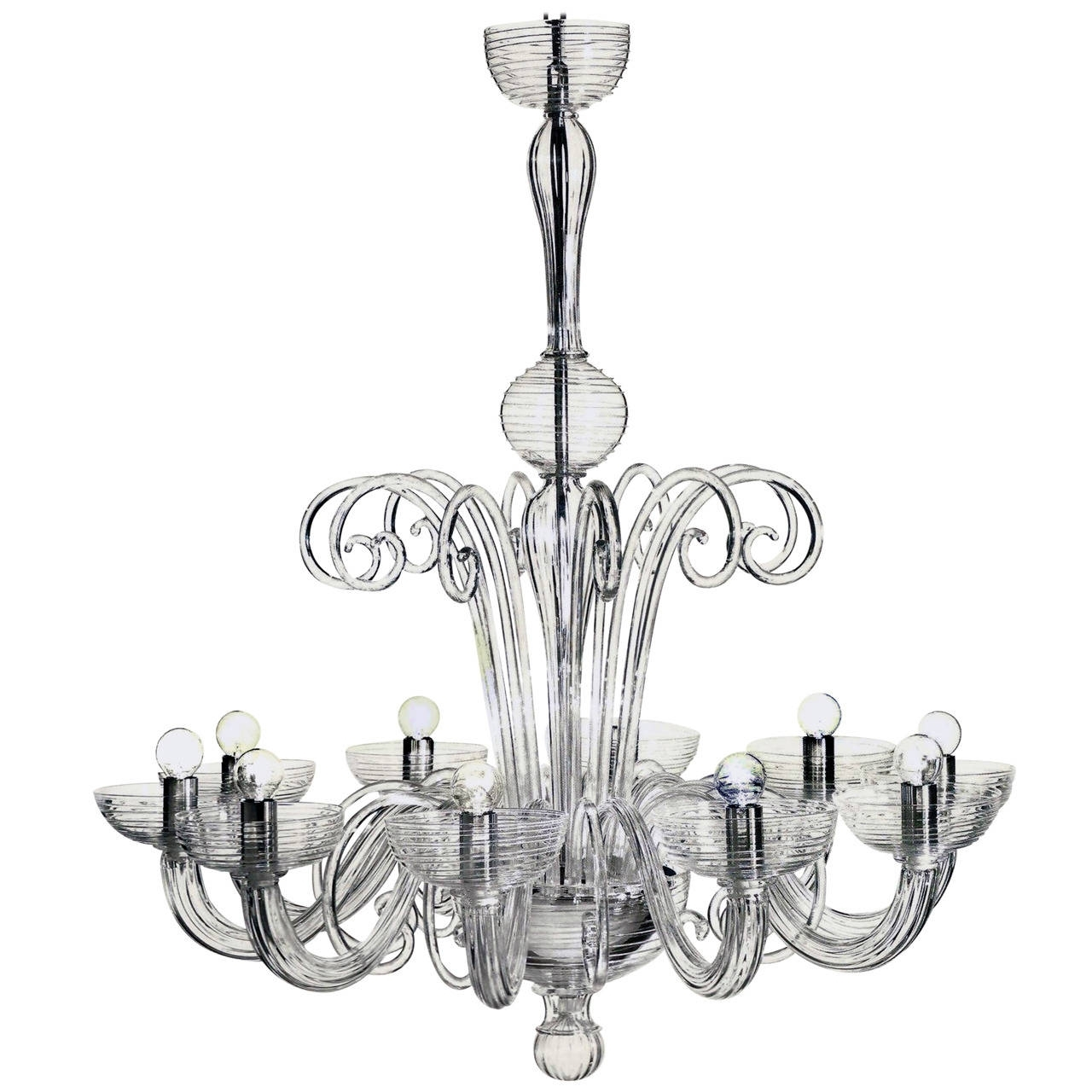 Favorite Two Italian Mid Century Style Clear Murano / Venetian Glass Ten Arm Pertaining To Italian Chandeliers Style (View 9 of 15)