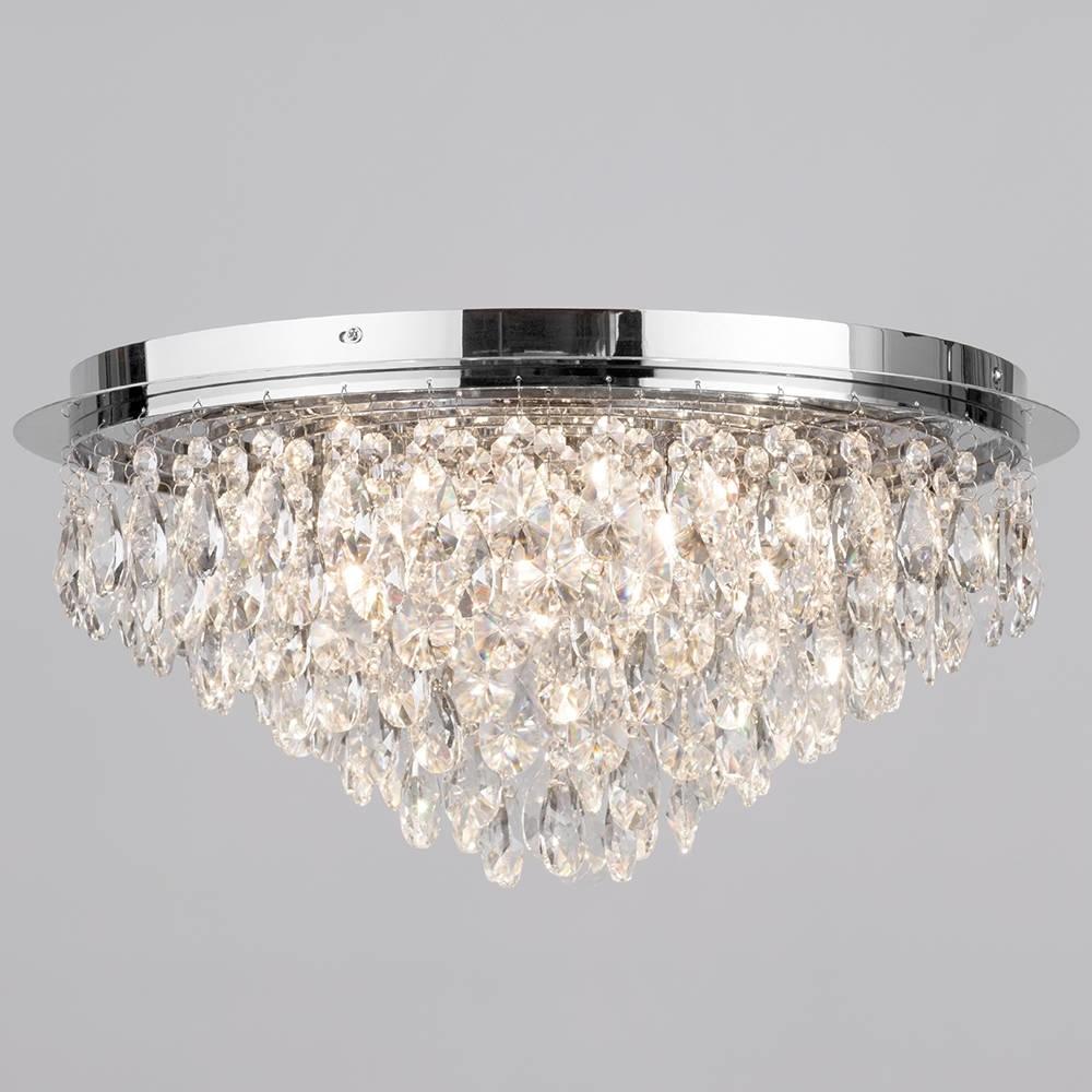 Flush Ceiling Light – Crystal 6 Light Chrome (View 5 of 15)