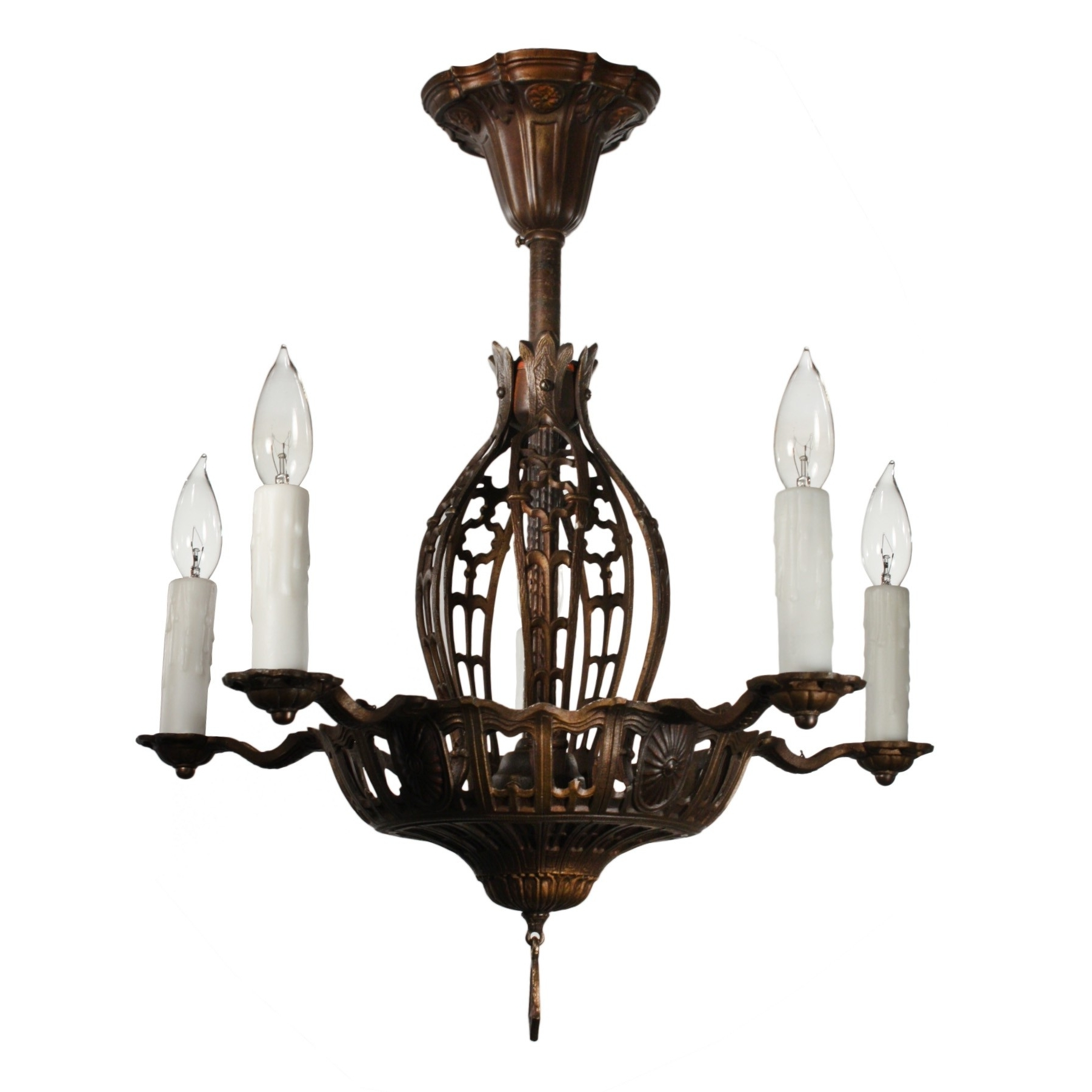 Flush Chandelier With Well Liked Antique Semi Flush Chandelier, Early 1900S – Preservation Station (View 13 of 15)