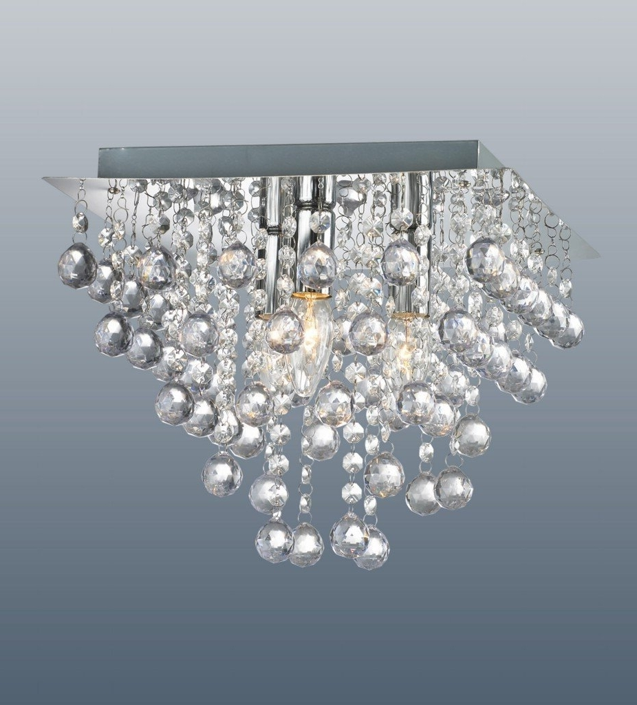 Flush Fitting Chandelier Regarding Best And Newest Palazzo 3 Light Square Polished Chrome Flush Crystal Acrylic: Amazon (View 7 of 15)