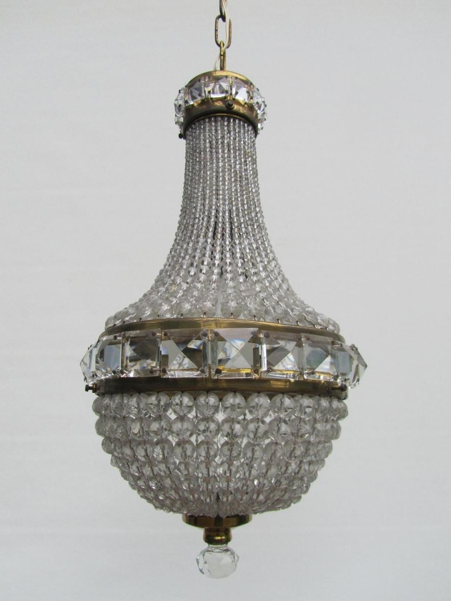French Chandelier For Most Current French Crystal Beaded Basket Chandelier For Sale At Pamono (View 11 of 15)