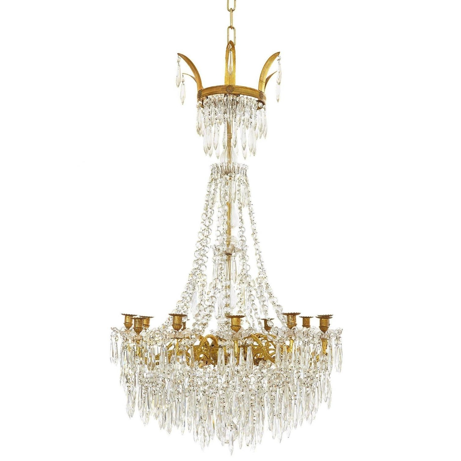 French Chandelier With Regard To Most Recent Large Gilt Bronze And Crystal Antique French Chandelier In The (View 6 of 15)