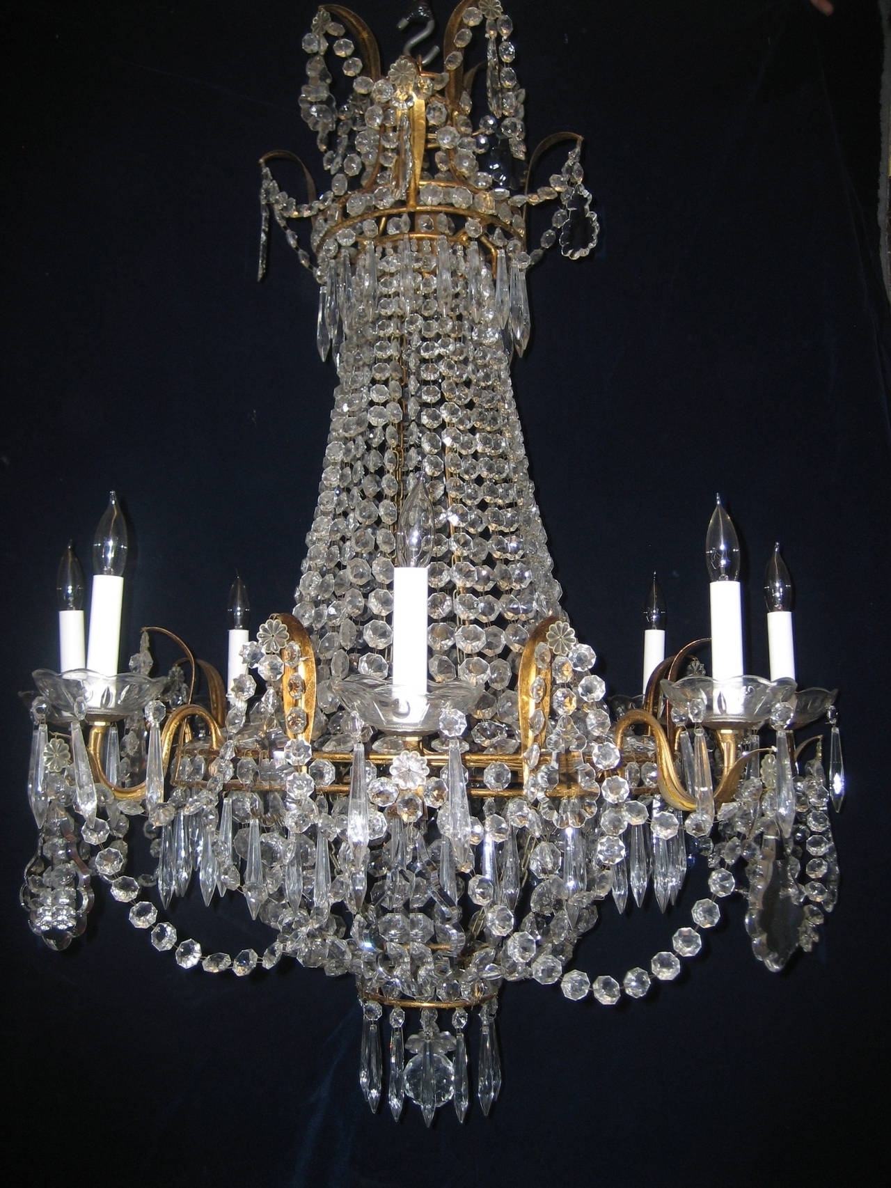 French Chandelier Within Well Known Set Of Three Antique French Louis Xvi Style Gilt And Crystal (View 3 of 15)