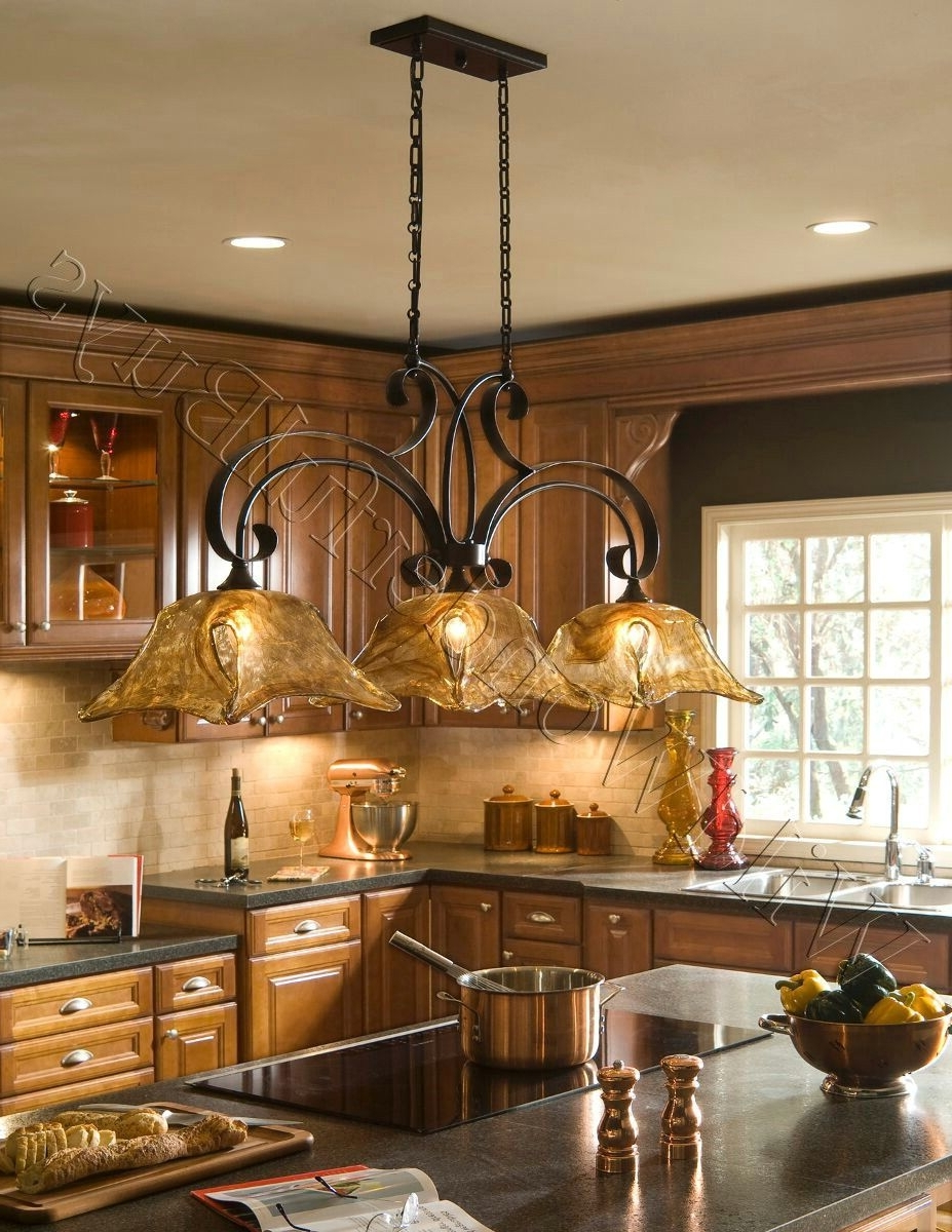 French Country Chandeliers For Kitchen Regarding Most Recent French Country 3 Light Tulip Chandelier Kitchen Island Pendant Iron (View 11 of 15)