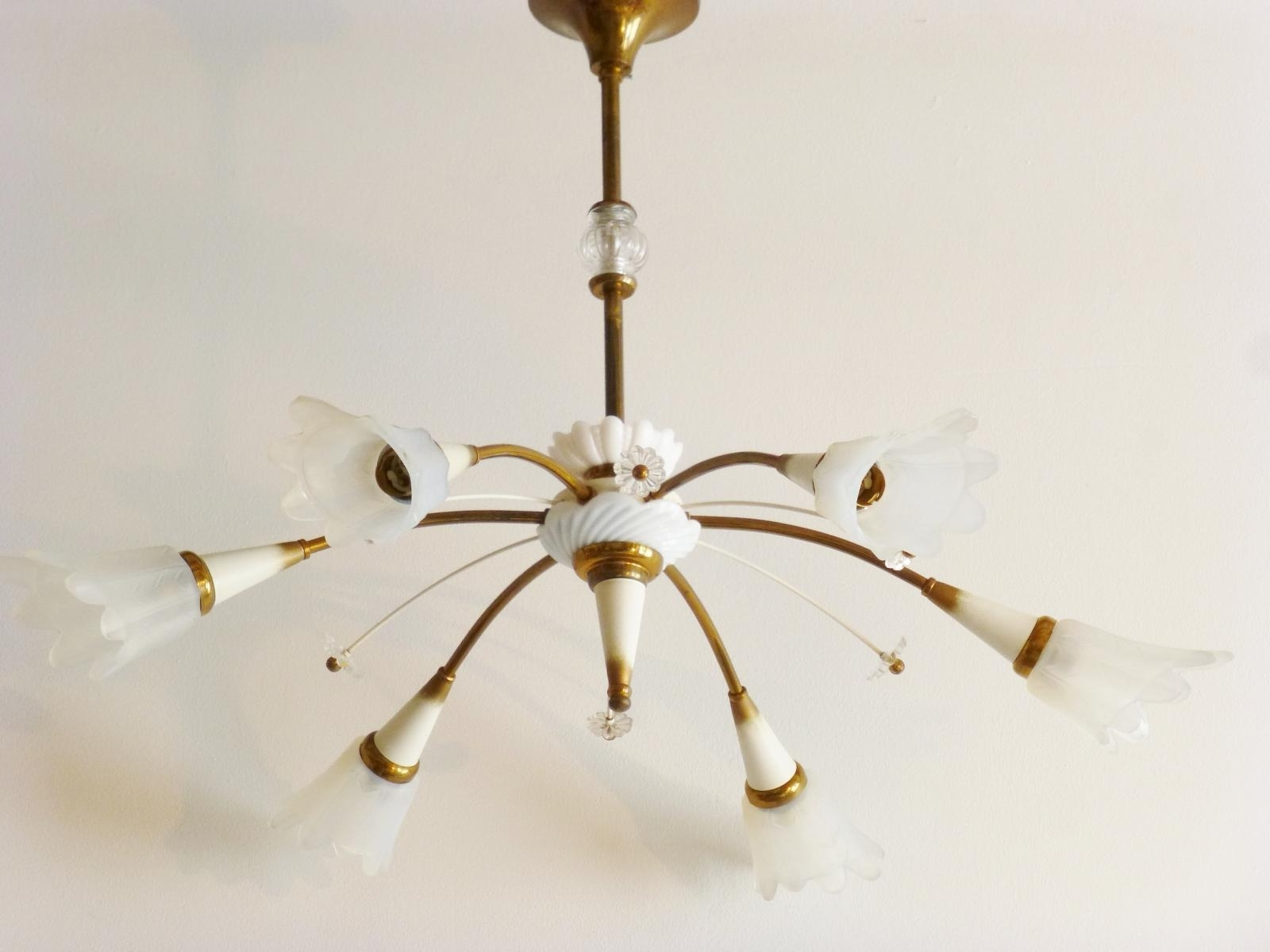 French Glass Chandelier Pertaining To Well Known Mid Century French Glass, Brass & Porcelain Chandelier, 1950S For (View 6 of 15)