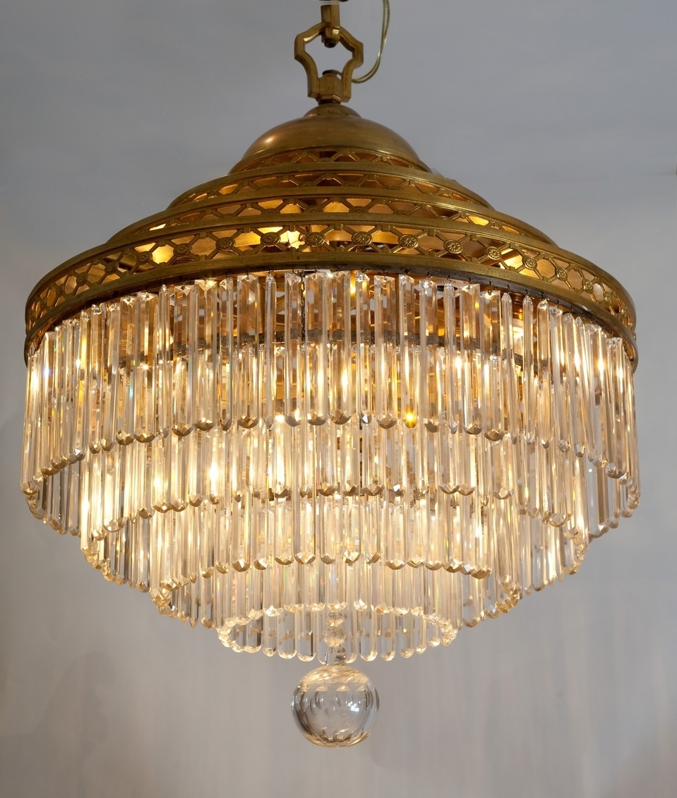 French Glass Chandelier Throughout Current Antique Tiered Crystal Chandelier – French Circa  (View 11 of 15)
