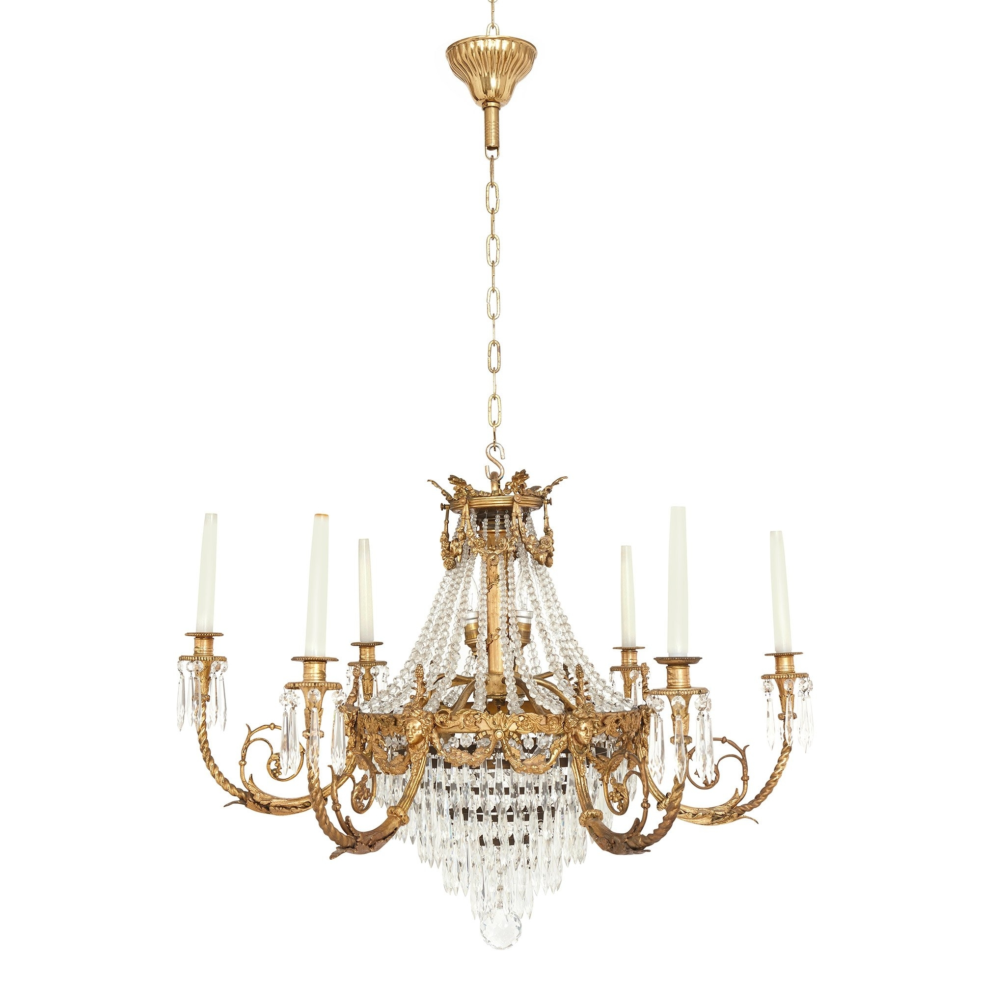 French Style Chandelier Within Fashionable Antique French Gilt Bronze And Cut Glass Chandelier In The Empire (View 3 of 15)