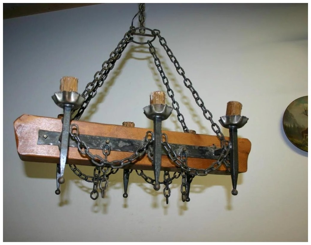 French Wooden Chandelier Inside Fashionable An Old French Wooden / Wrought Iron Castle Chandelier : Europe (View 9 of 15)