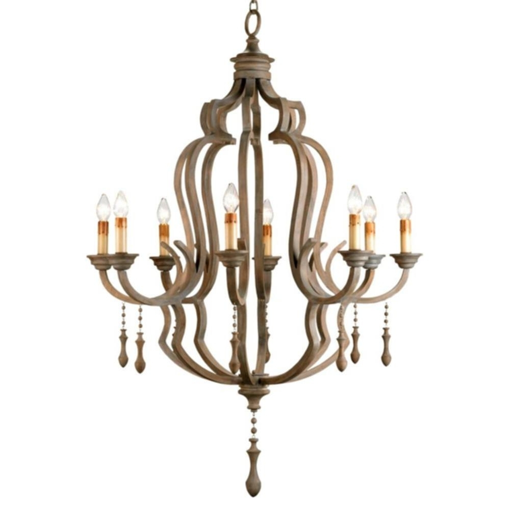 French Wooden Chandelier With Regard To Well Known Wood Beaded Corinne Chandelier Normandy Large French Wood 8 Light (View 8 of 15)