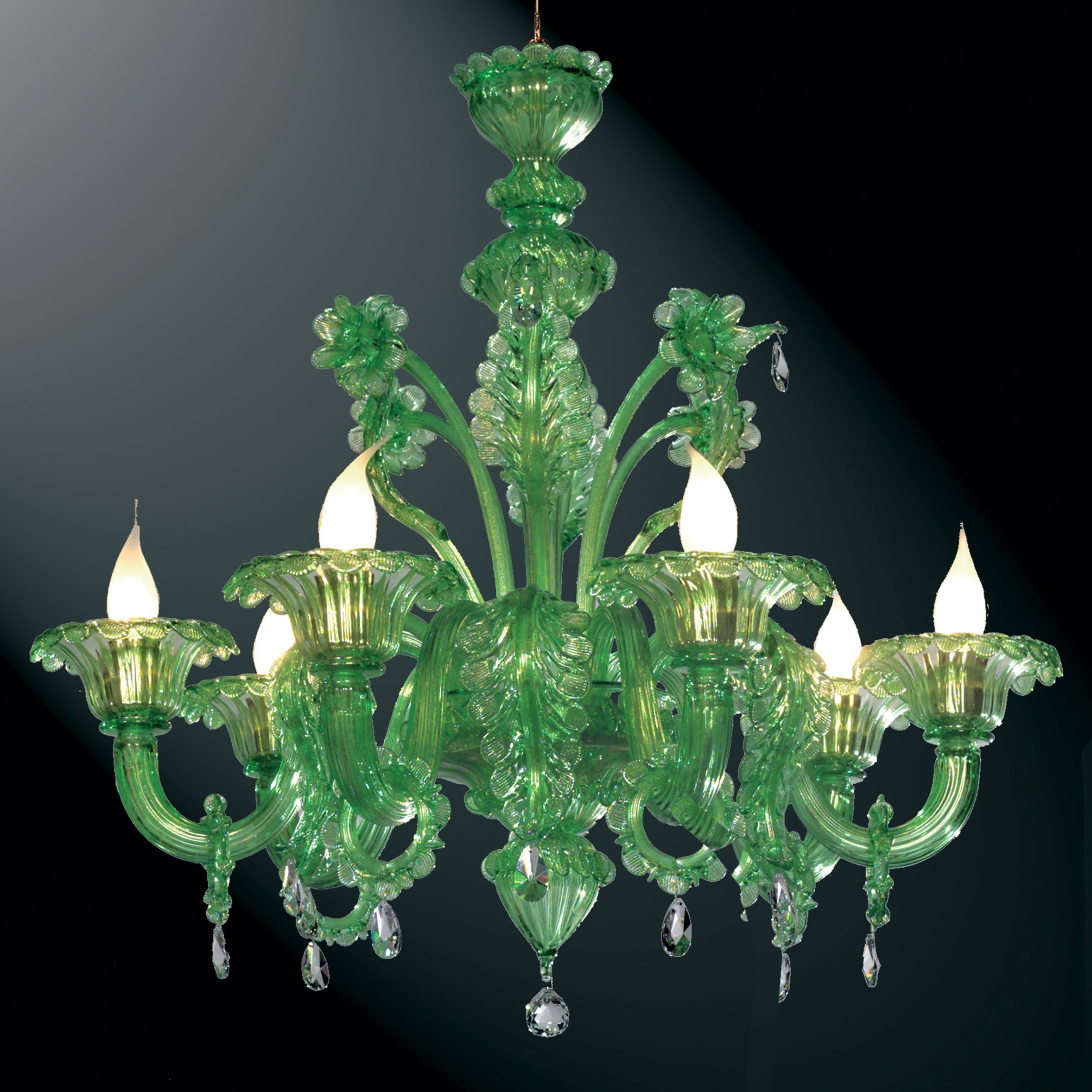 "Giada"" Green Murano Glass Chandelier – Murano Glass Chandeliers Within Current Glass Chandeliers (View 3 of 15)"
