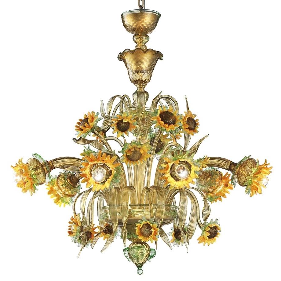 "Girasole"" Sunflowers Murano Glass Chandelier – Murano Glass Chandeliers Intended For Trendy Murano Chandelier (View 3 of 15)"