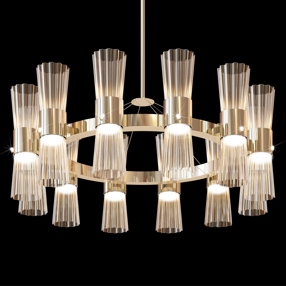 Glass Chandelier Intended For Most Recent Modern Gold Leaf Murano Glass Chandelier (View 11 of 15)