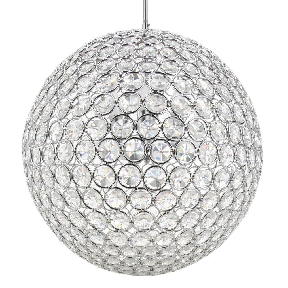 Globe Crystal Chandelier inside Well-known Checkolite 8-Light Chrome Crystal Chandelier-10951-15 - The Home Depot