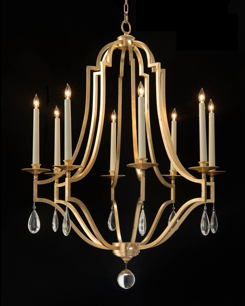 Gold Leaf Chandelier In Well Known Gold Leaf And Crystal Chandelier – Chandeliers – Fixed Lighting (Gallery 14 of 15)