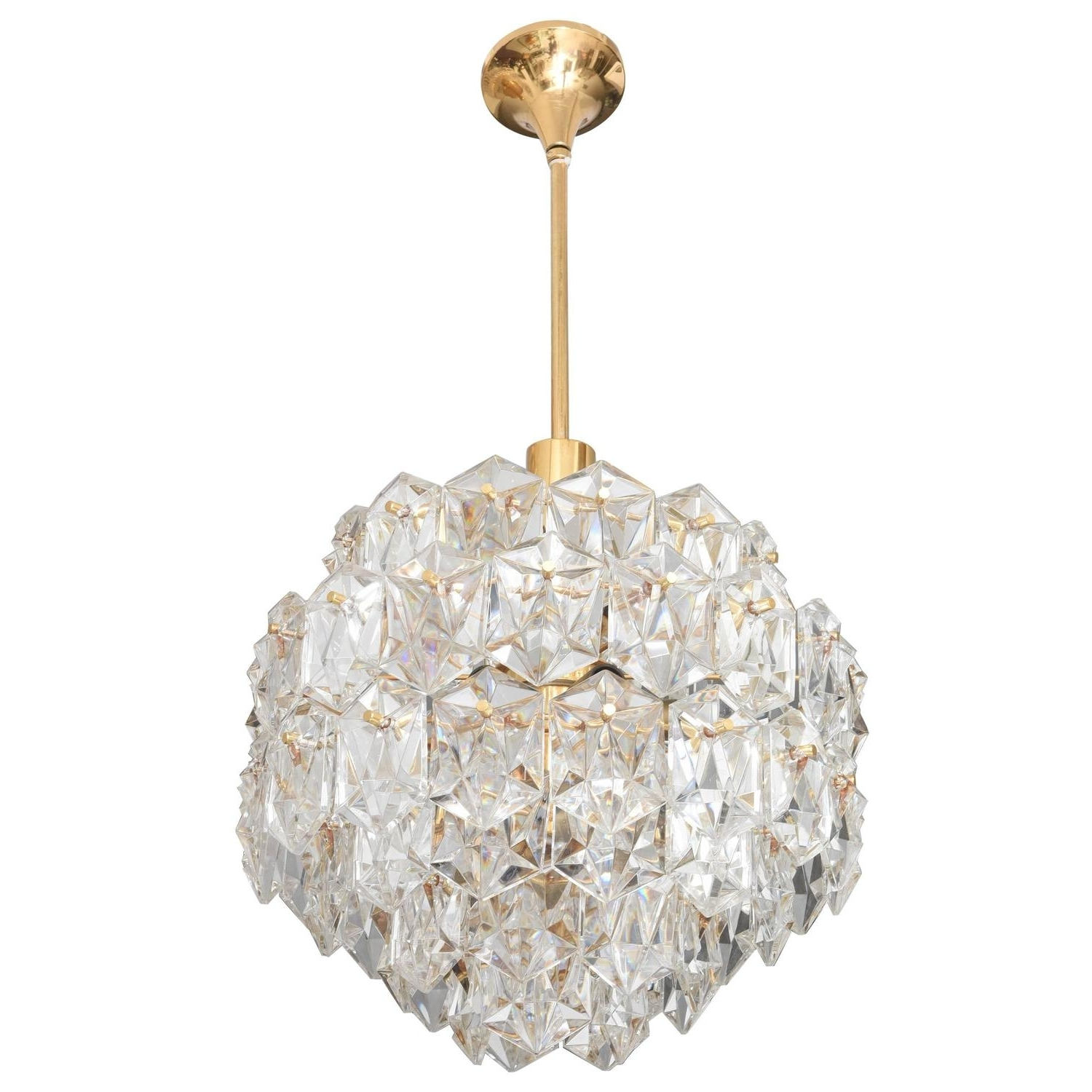 Gold Modern Chandelier Inside Most Up To Date Mid Century Modern Chandelier, Gold Plated With Molded Crystals (View 3 of 15)