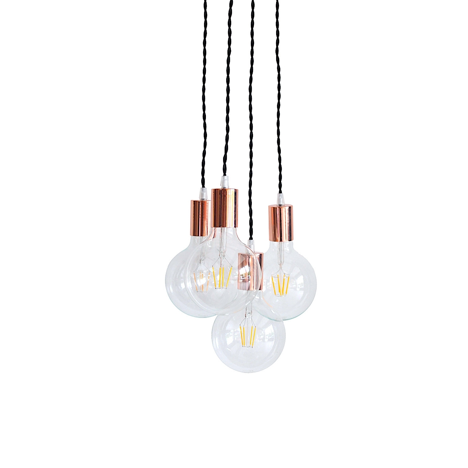 Gold Modern Chandelier pertaining to Most Recently Released Copper Chandelier Light Cluster Rose Gold Pendant Lighting Swag