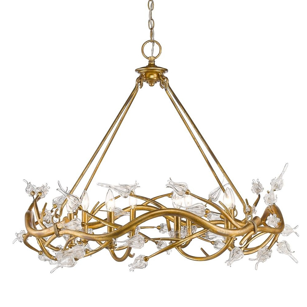 Golden Lighting Aiyana 8 Light Gold Leaf Chandelier With Clear Glass Pertaining To Current Gold Leaf Chandelier (View 6 of 15)