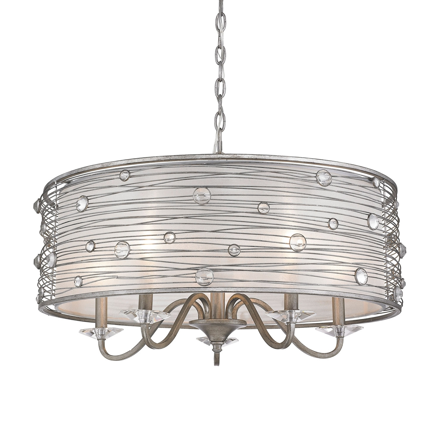 Golden Lighting Joia Peruvian Silver Five Light Chandelier On Sale For Latest Silver Chandeliers (Gallery 14 of 15)