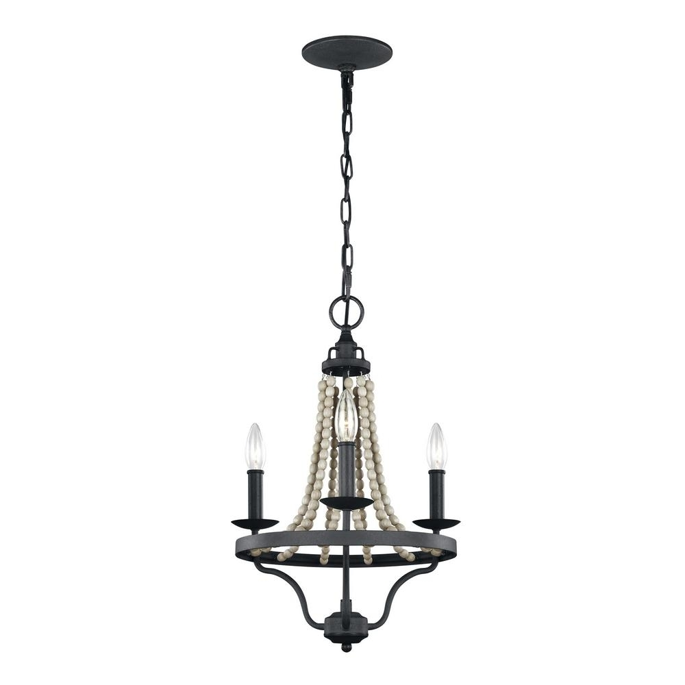 Grey Chandeliers In Most Current Feiss Nori 3 Light Dark Weathered Zinc And Driftwood Grey Chandelier (View 6 of 15)
