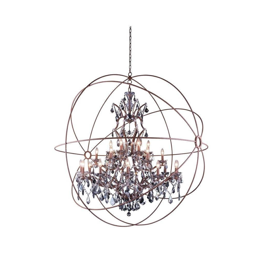 Grey Crystal Chandelier In Most Up To Date Elegant Lighting Geneva 25 Light Rustic Intent Chandelier With (View 15 of 15)