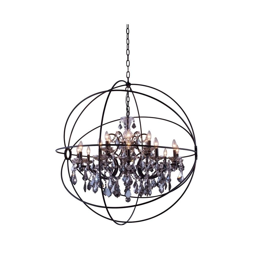Grey Crystal Chandelier Intended For Latest Elegant Lighting Geneva 18 Light Dark Bronze Chandelier With Silver (View 14 of 15)