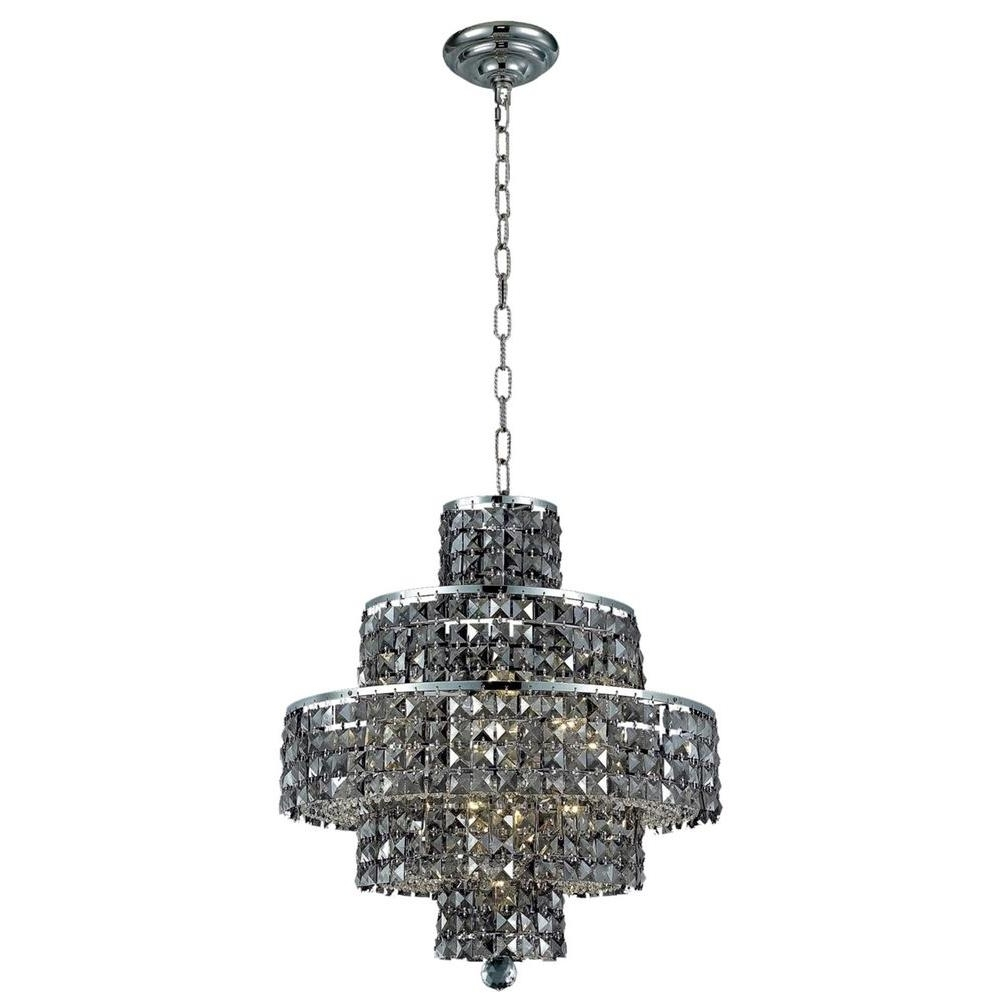 Grey Crystal Chandelier With Regard To Best And Newest Elegant Lighting 13 Light Chrome Chandelier With Silver Shade Grey (Gallery 5 of 15)