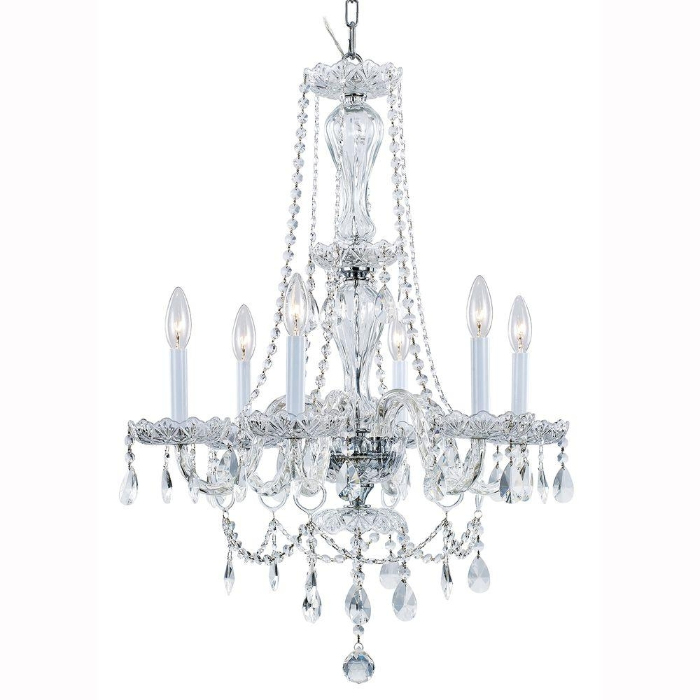 Hampton Bay Lake Point 6 Light Chrome And Clear Crystal Chandelier With Regard To Recent White And Crystal Chandeliers (View 7 of 15)
