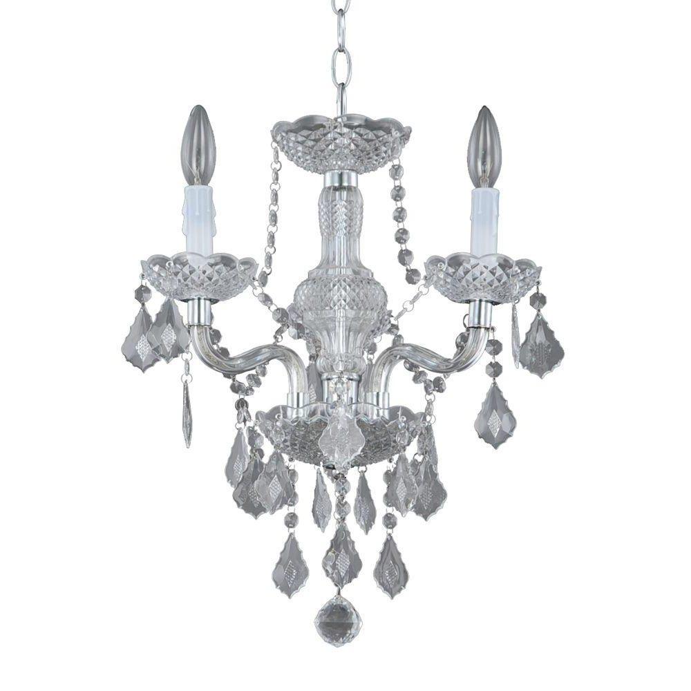 Hampton Bay Maria Theresa 3 Light Chrome And Clear Acrylic Mini Inside Most Popular Small Chrome Chandelier (View 4 of 15)