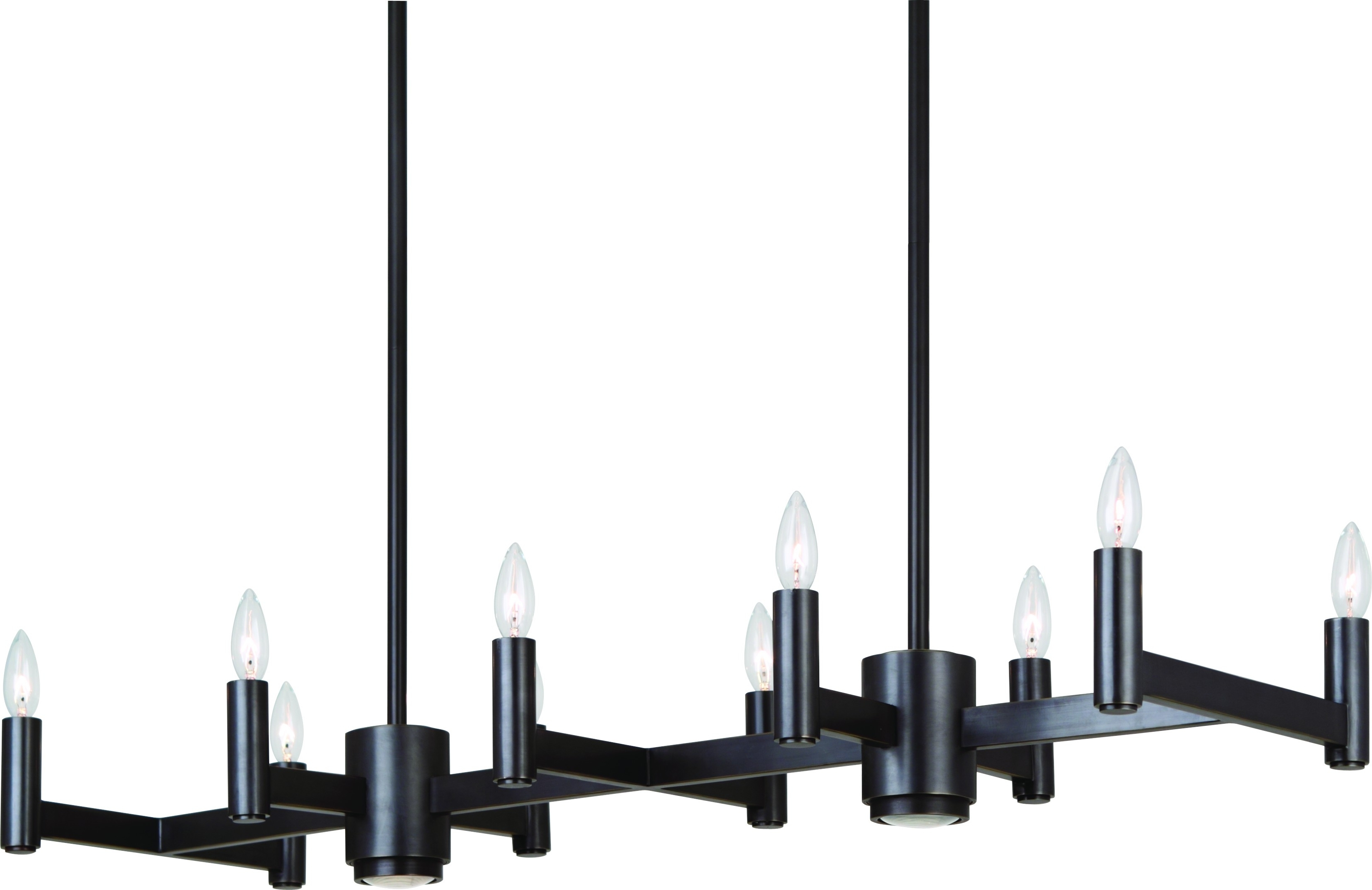 Hanging Rectangular Modern Black Wrought Iron Chandeliers With Lamp In Most Recently Released Modern Black Chandelier (View 11 of 15)