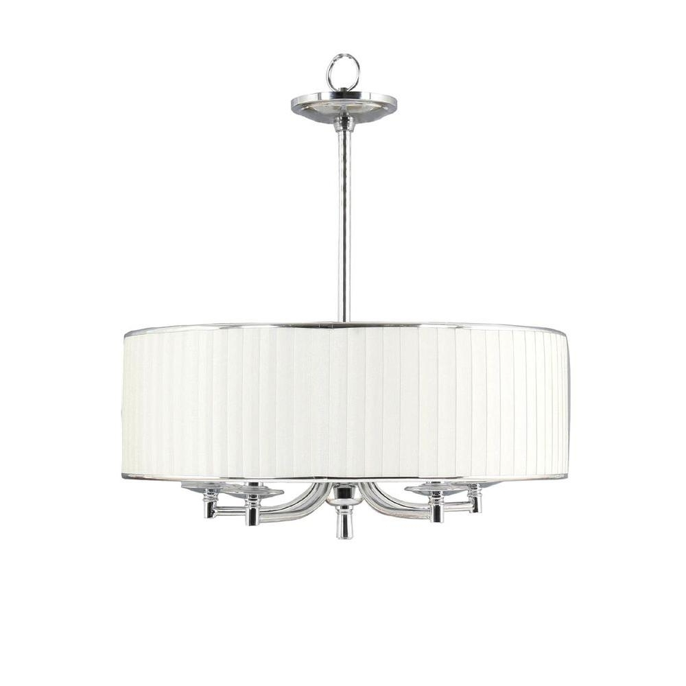 Home Decorators Collection Anya 5 Light Chrome Pendant With Pleated With Recent Fabric Drum Shade Chandeliers (View 3 of 15)