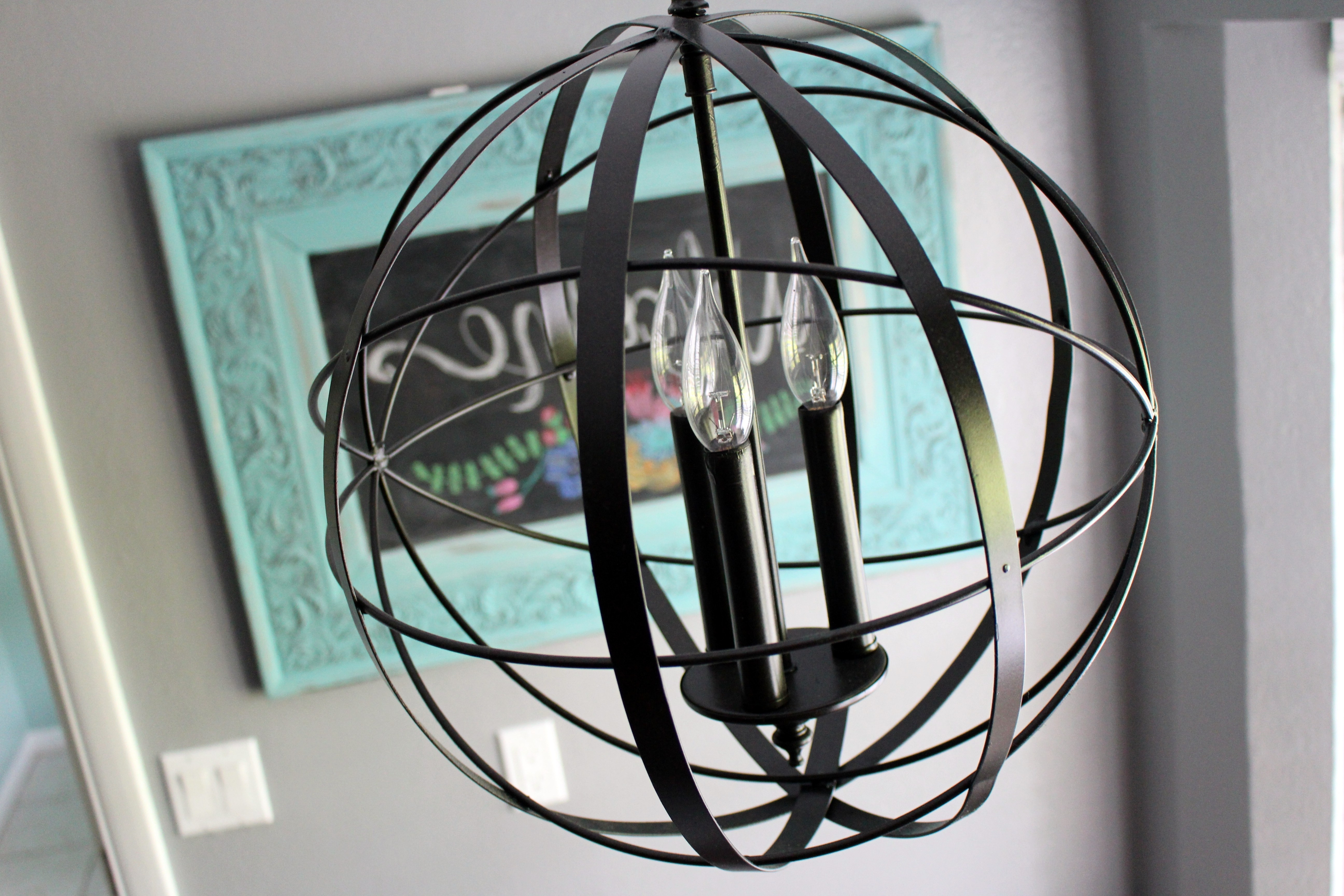 Home Project // Orb Chandelier For Breakfast Nook – Within The Grove Regarding Most Recently Released Turquoise Orb Chandeliers (View 4 of 15)