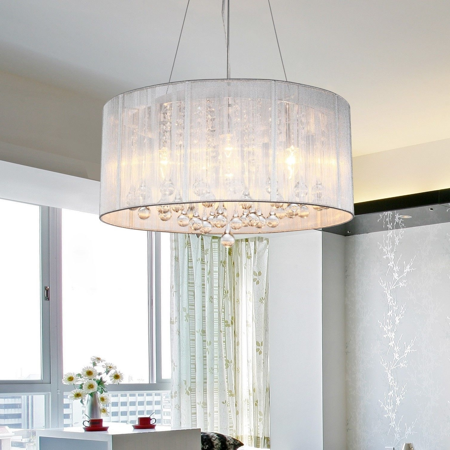 How To Choose A Chandelier Lampshade – Goodworksfurniture Regarding Latest Lampshade Chandeliers (View 3 of 15)
