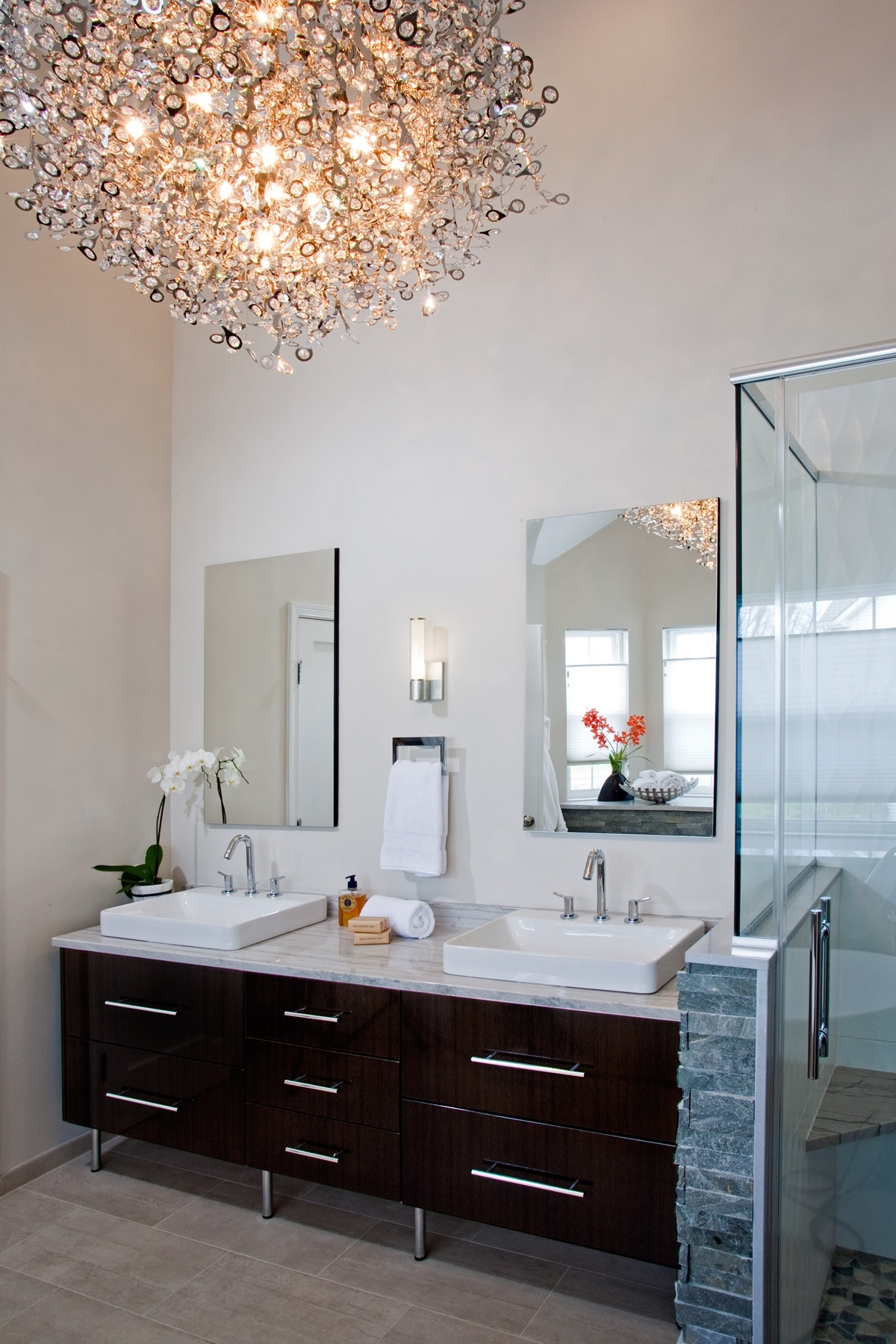 Htrenovations In Modern Bathroom Chandelier Lighting (View 5 of 15)
