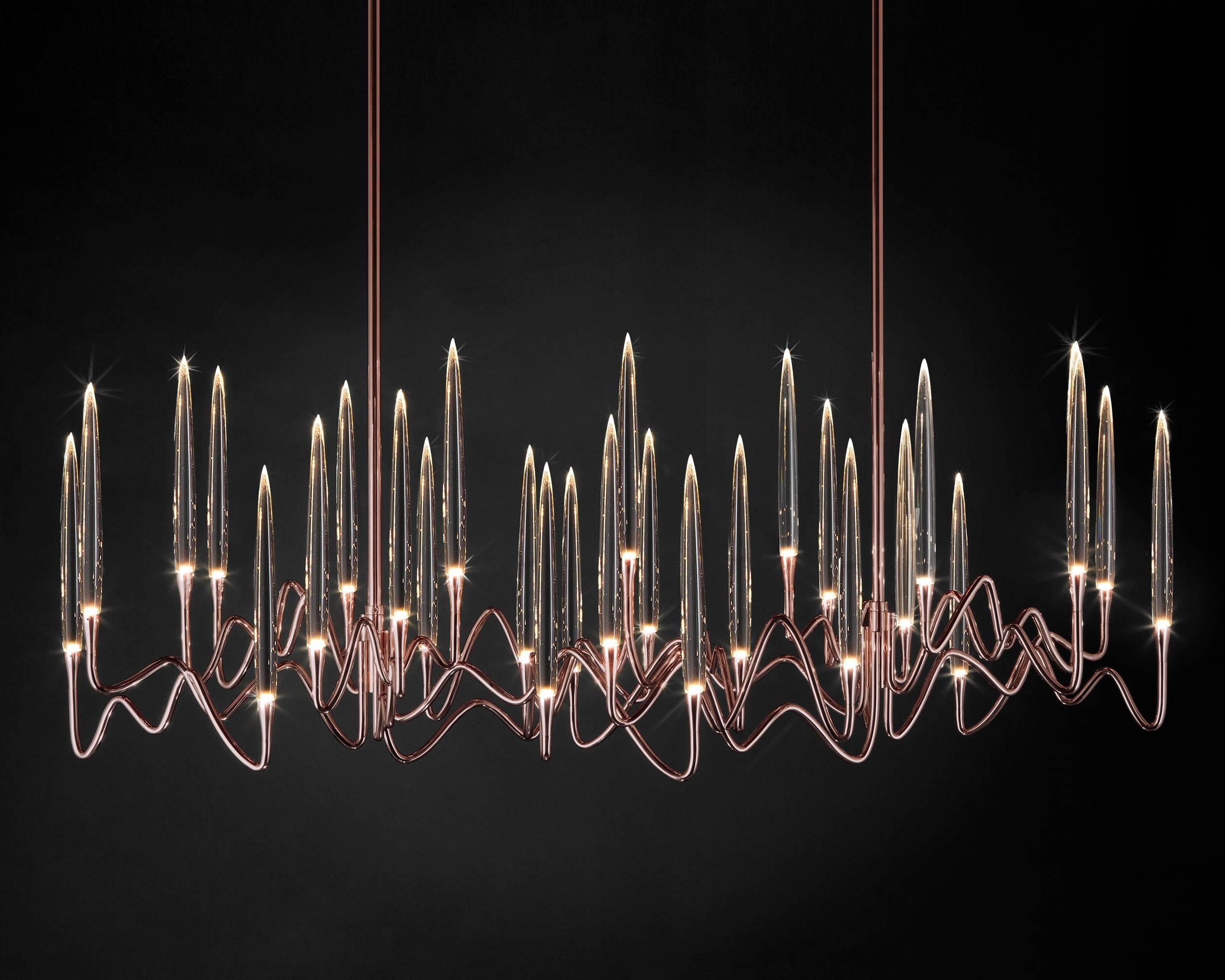 "Il Pezzo 3 Long Chandelier"" Made In Italy Led Lamp Made Of Brass And With Regard To Most Recent Long Chandelier Light (Gallery 11 of 15)"