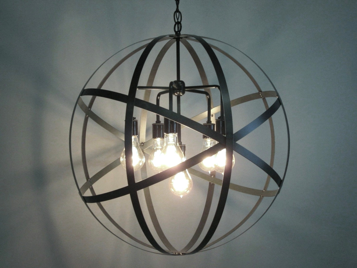 Industrial Orb Chandelier Ceiling Light Sphere 24 With Clear Glass In Fashionable Orb Chandelier (View 11 of 15)