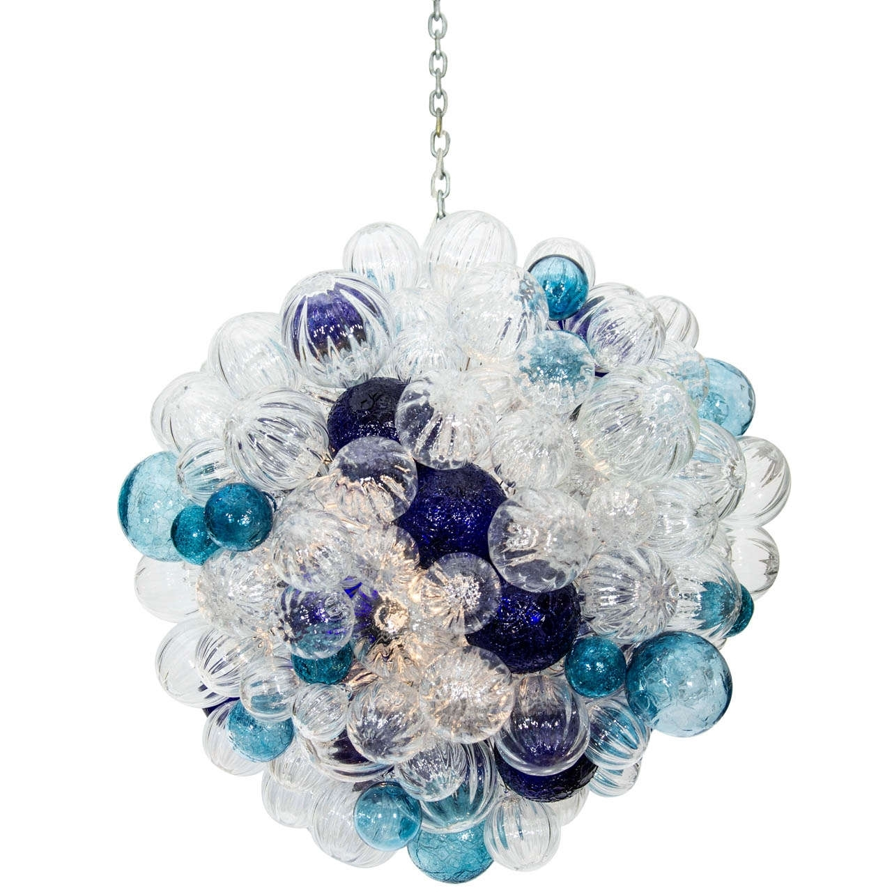 Interior: Attractive Blue White Glass Bubble Chandelier With Chain Throughout Most Recently Released Turquoise Bubble Chandeliers (View 15 of 15)