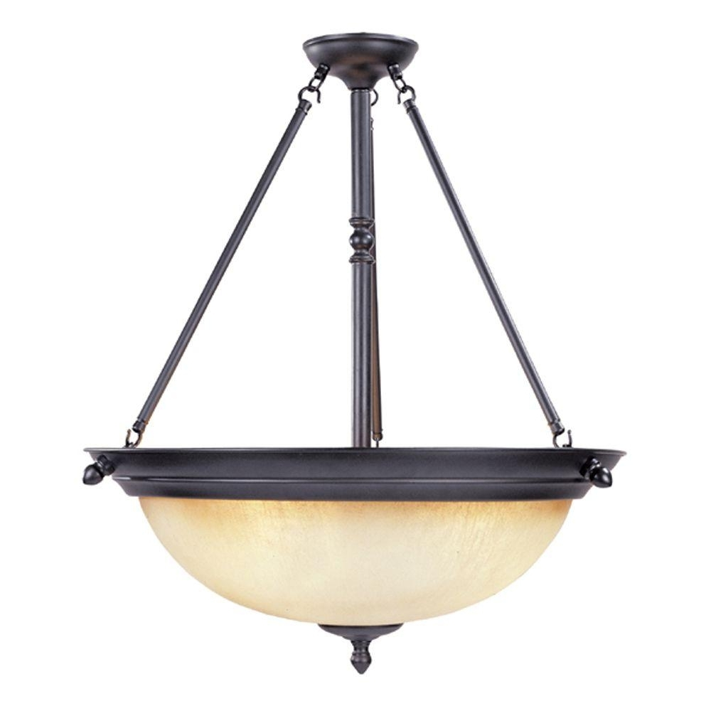 Inverted Pendant Chandeliers Regarding Trendy Designers Fountain Branson Collection 3 Light Oil Rubbed Bronze (View 6 of 15)
